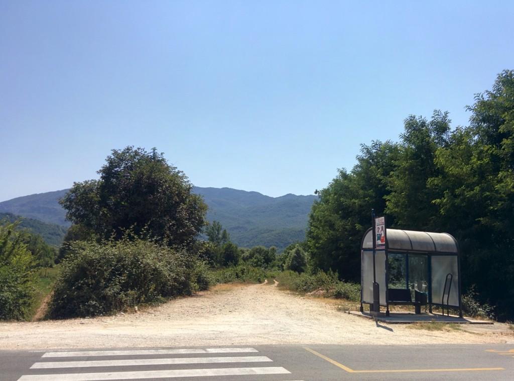 バスに下された場所。人どころか車もまったく通らず不安になりながらお迎えを待ちました。